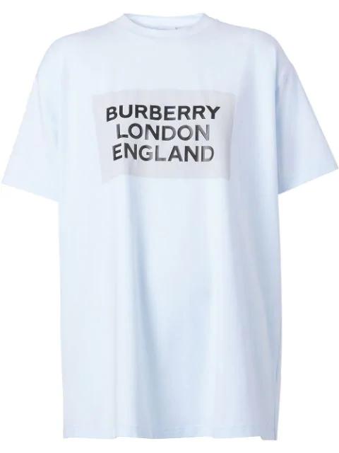 Burberry Ariana Logo-print Cotton-jersey T-shirt In Light Blue