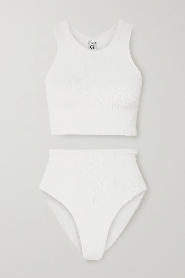 Hunza G Nile Iris Ribbed Bikini In White