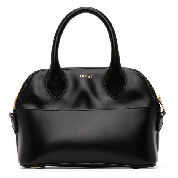 Sacai Black Small Classic Fold Duffle Bag In 001 Black