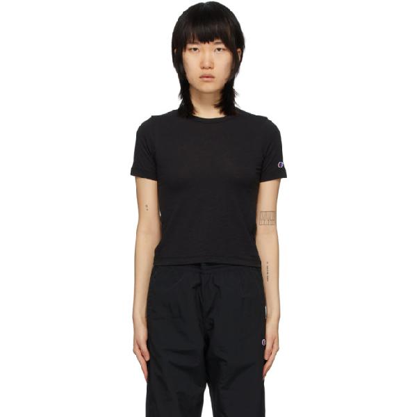Champion Reverse Weave Black Logo Tight Crop T-shirt In Nbk Black