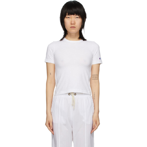 Champion Reverse Weave White Logo Tight Crop T-shirt In Wht White
