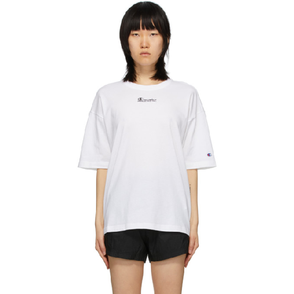 Champion Reverse Weave White Montaggio T-shirt In Wht White