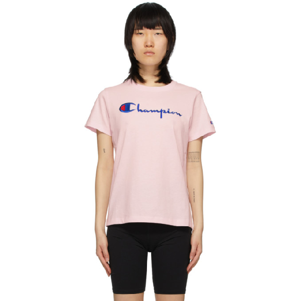 Champion Embroidered Logo T-shirt In Bap Pink