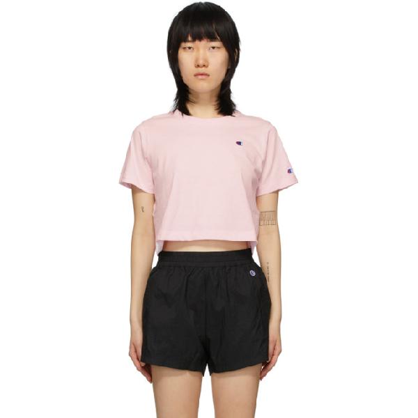 Champion Reverse Weave Pink Cropped Logo T-shirt In Bap Pink