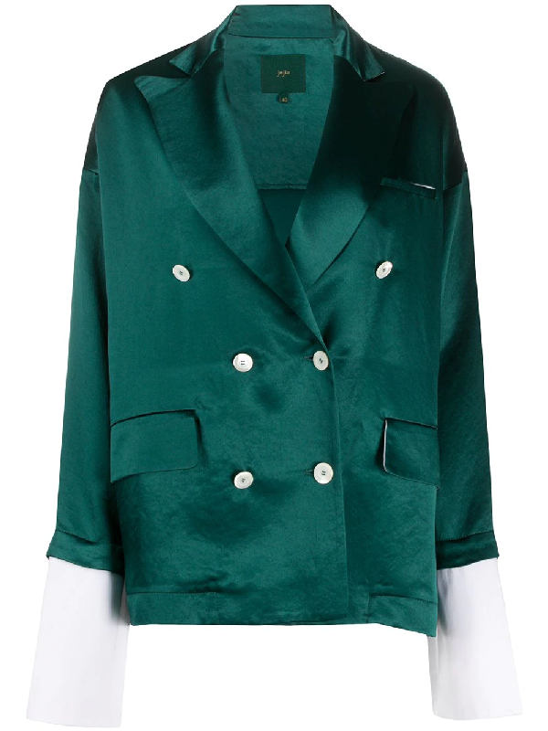 Jejia Extended-cuff Double Breasted Blazer In Green