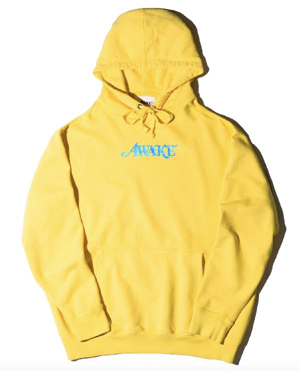 Awake Metallic Foil Logo Hoodie Yellow