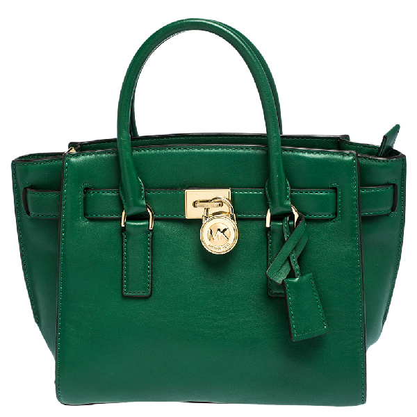 Michael Kors Michael  Green Leather Small Hamilton Tote