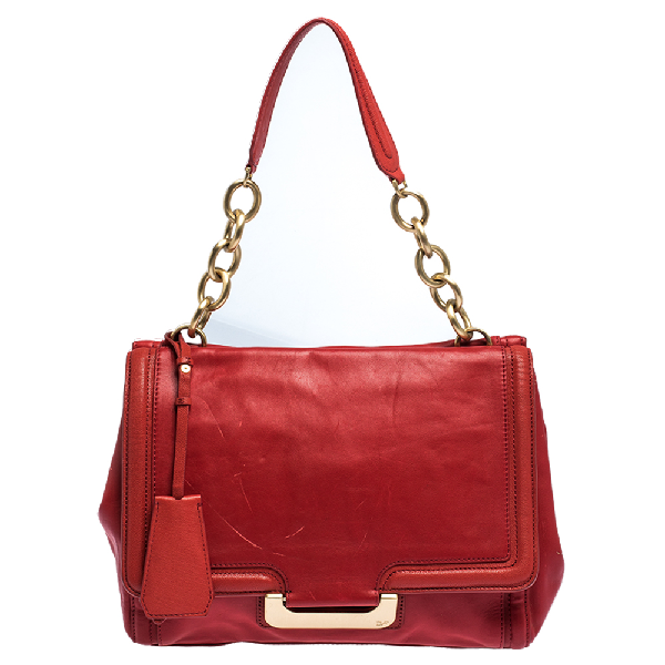 Diane Von Furstenberg Red Leather New Harper Satchel