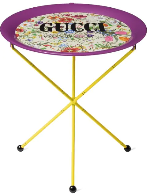Gucci Flora Print Metal Folding Table In Pink