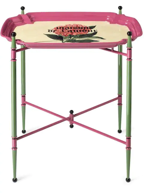"""Gucci """"maison De L'amour"""" Print Metal Folding Table In Pink ,green"""