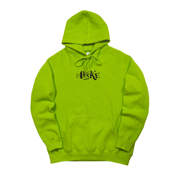 Awake Distorted Logo Hoodie Lime Green