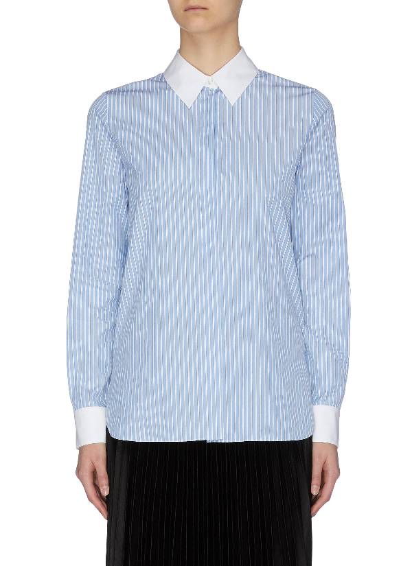 Theory Contrast Collar And Cuff Stripe Shirt In Blue / White Stripe