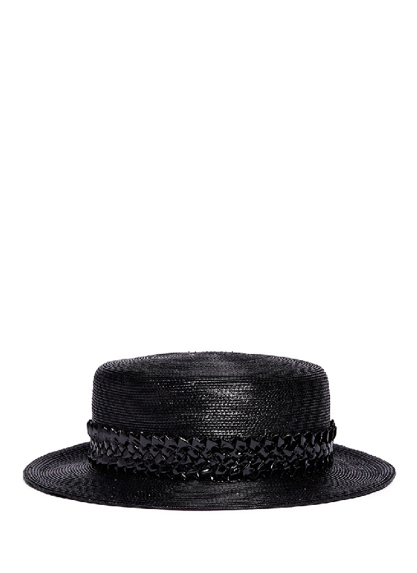 Gigi Burris Millinery 'agnes' Woven Band Coated Straw Boater Hat In Black