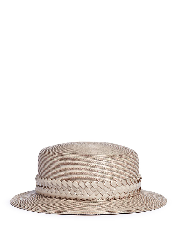 Gigi Burris Millinery 'agnes' Woven Band Coated Straw Boater Hat In Neutral