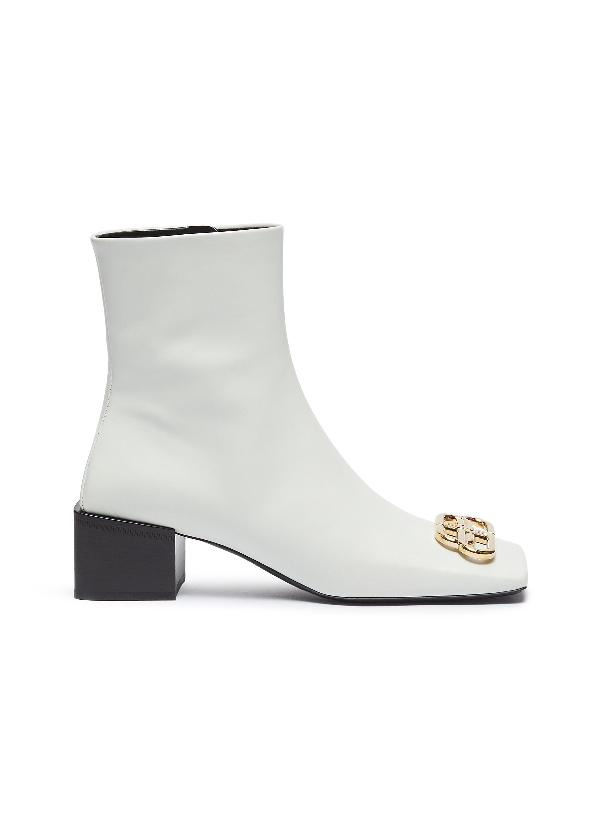 Balenciaga 'double Square' Logo Plaque Leather Ankle Boots In White