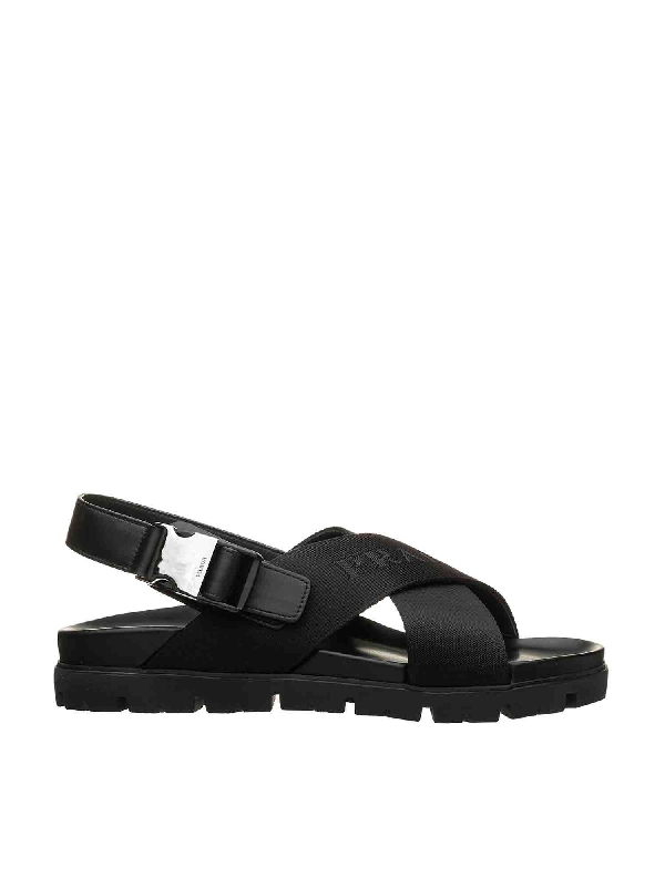 Prada Sandals In Black With Crossed Band