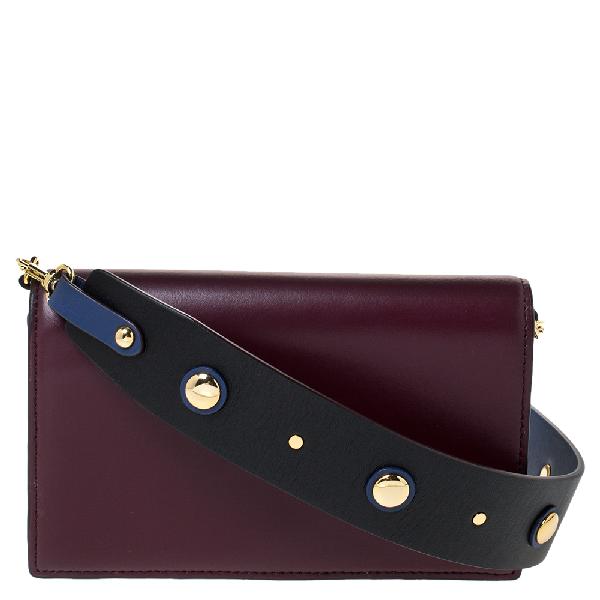 Diane Von Furstenberg Burgundy Leather Flap Shoulder Bag