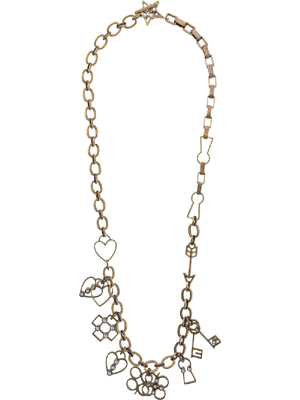 Lanvin Cable Chain Charms Necklace In Gold