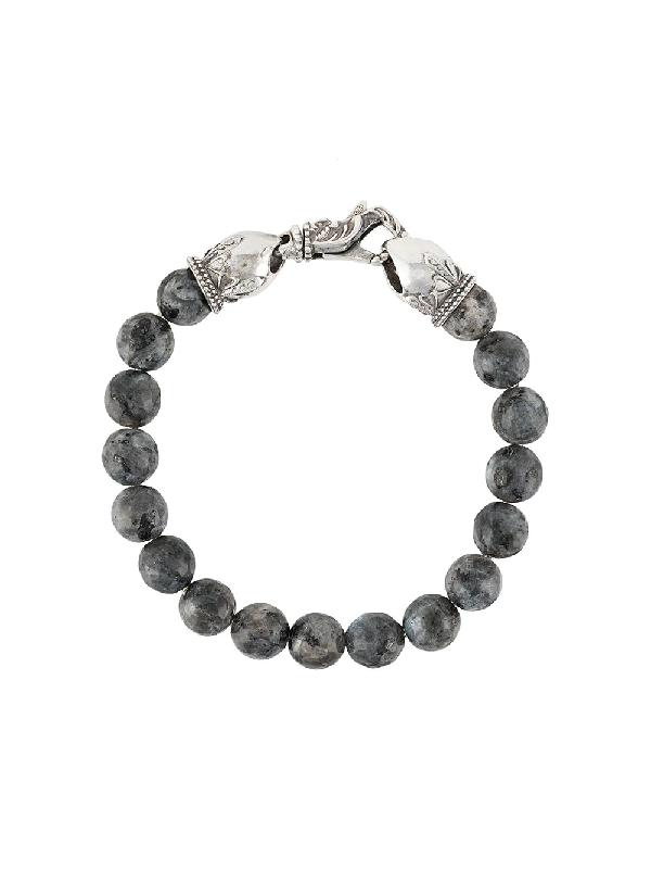 Emanuele Bicocchi Stone-embellished Beaded Bracelet In Grey