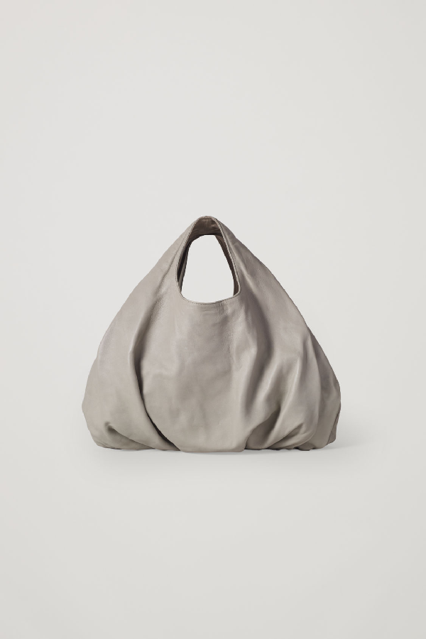 Cos Small Gathered Leather Bag In Green