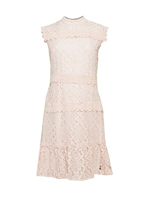 Julia Jordan Lace Flounce Dress In Blush