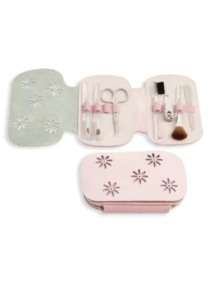 Bey-berk 8-piece Leather & Suede Case & Stainless Steel Manicure Set In Pink