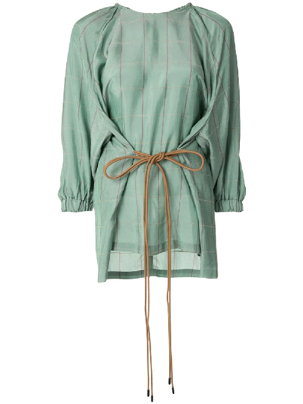 Muller Of Yoshiokubo Lyn Check-print Blouse In Green