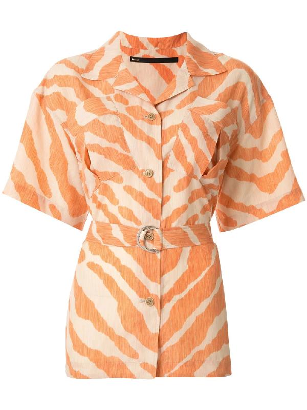 Muller Of Yoshiokubo Open Collar Zebra Print Shirt In Orange
