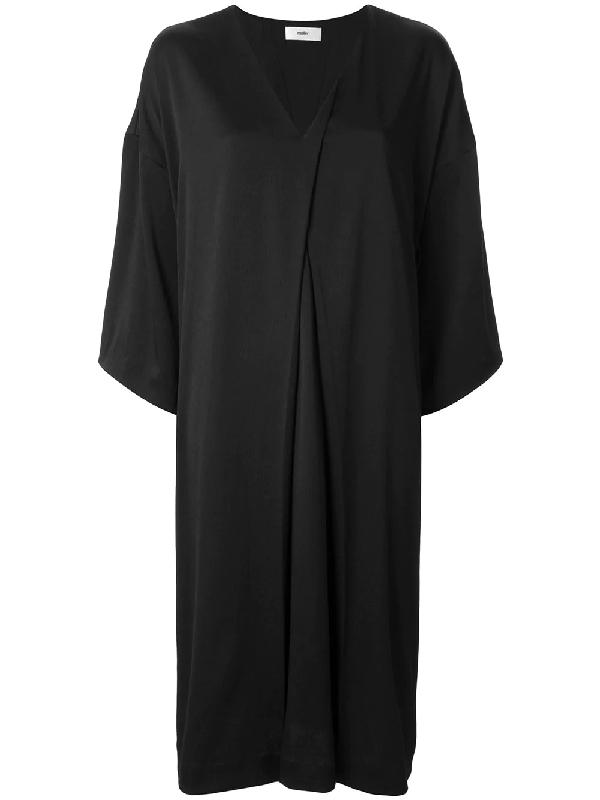 Muller Of Yoshiokubo V-neck Slit Tuck Dress In Black