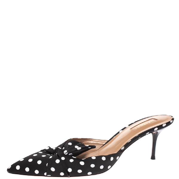 Aquazzura Black/white Polka Dot Fabric Deneuve Mules Size 39.5