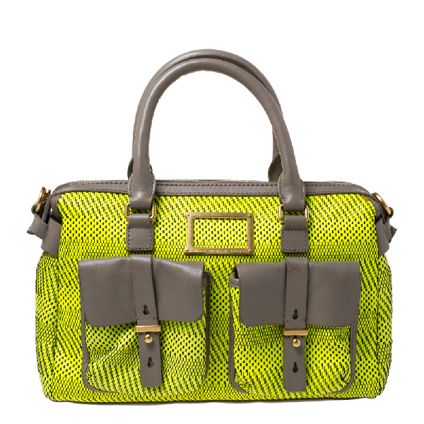Marc By Marc Jacobs Neon Green/grey Patent Leather And Nylon Werdie Satchel