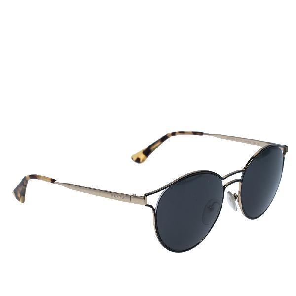 Prada Gold/black Spr 62s Round Sunglasses