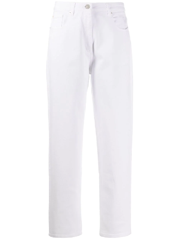 Barbara Bui Mid Rise Straight Jeans In White