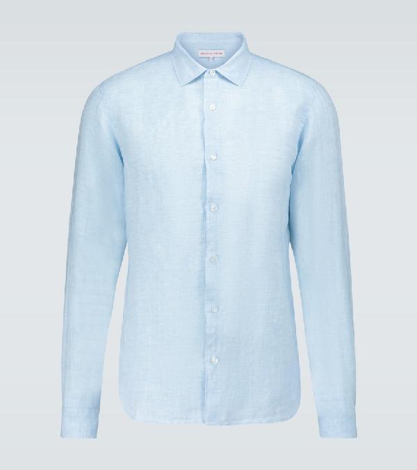 Orlebar Brown Giles Long-sleeved Linen Shirt In Blue