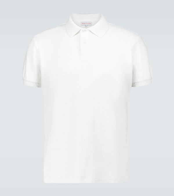 Orlebar Brown Jarrett Toweling Cotton Polo Shirt In White