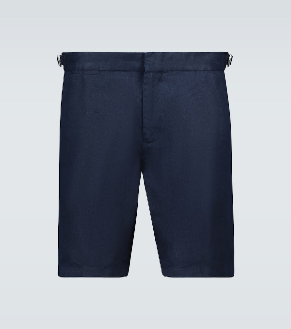 Orlebar Brown Norwich Slim-fit Linen Shorts In Blue