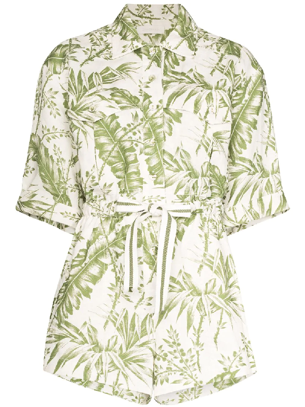Zimmermann 'empire' Botanical Print Utility Playsuit In Green ,white