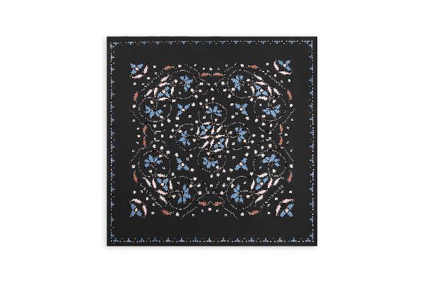 Ss20 Silk Square Scarf In Pearl Print Black