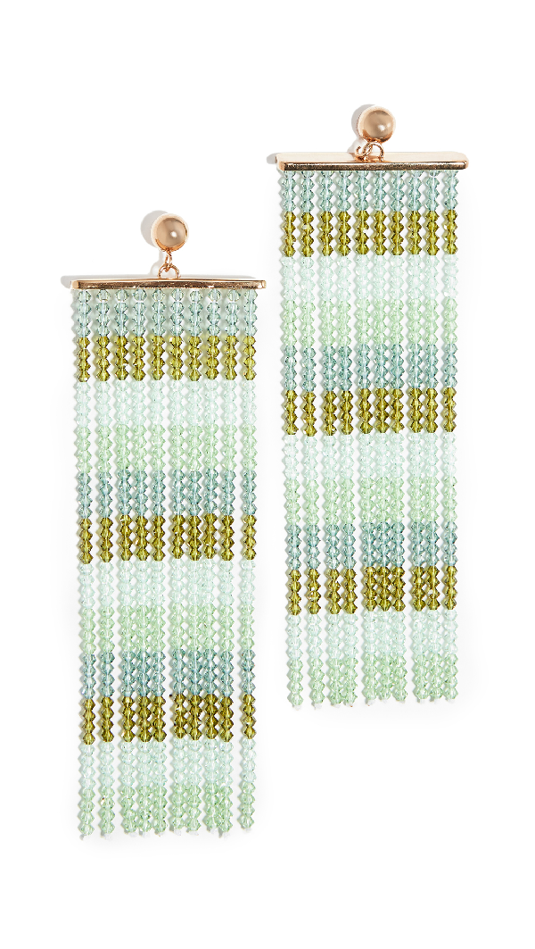 Jacquemus Les Rideaux Crystal Pendant Earrings In Green