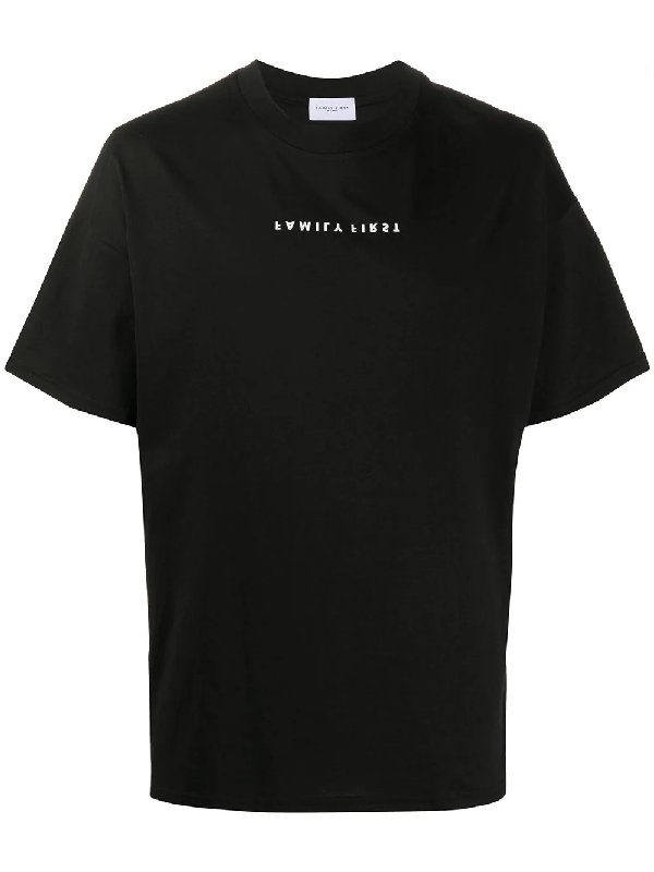 Family First Upside-down Logo Print T-shirt In Black