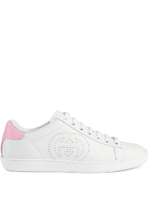 Gucci New Ace Perforated-logo Leather Trainers In White
