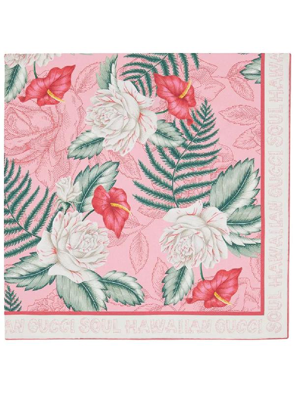 Gucci Hawaiian Floral-print Scarf In Pink