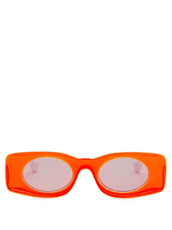 Loewe White & Orange Paula's Ibiza Square Sunglasses In 21u Bordeau