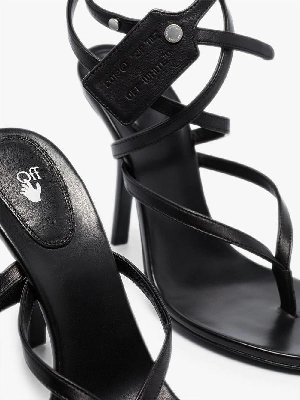 Off-white Zip Tie Multi-strap Sandals In Black