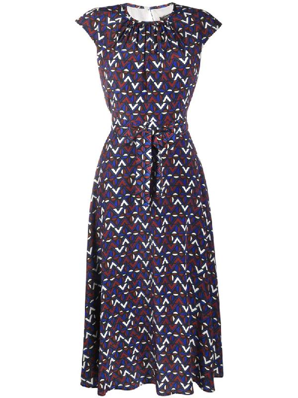 Weekend Max Mara Graphic Print Dress In Blue