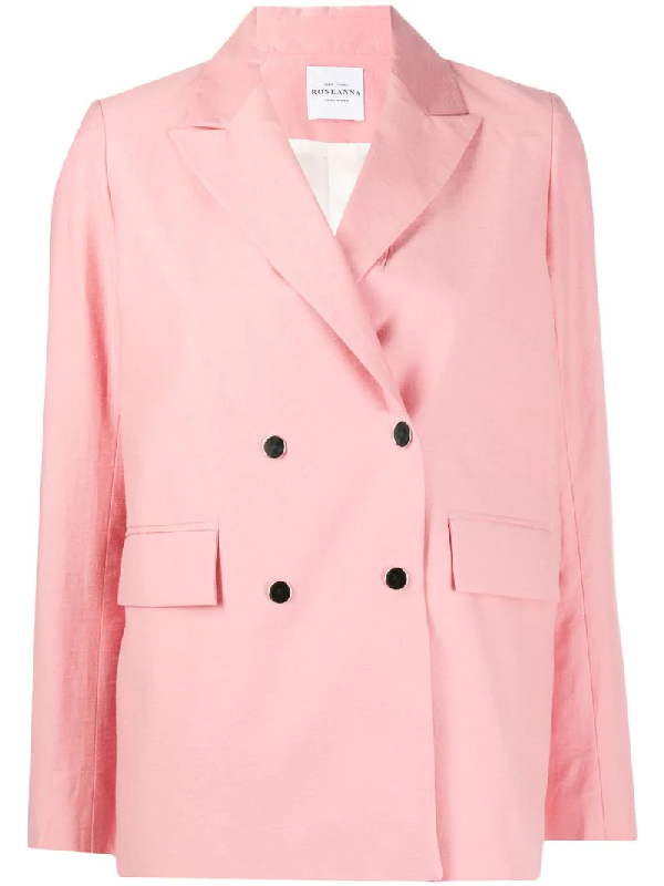 Roseanna Hantempo Double Breasted Blazer In Pink