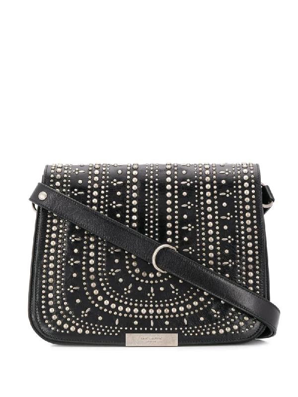 Saint Laurent Studded Saddle Shoulder Bag In Black