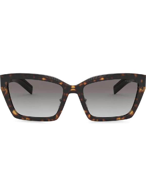 Prada Square-frame Gradient Sunglasses In Brown