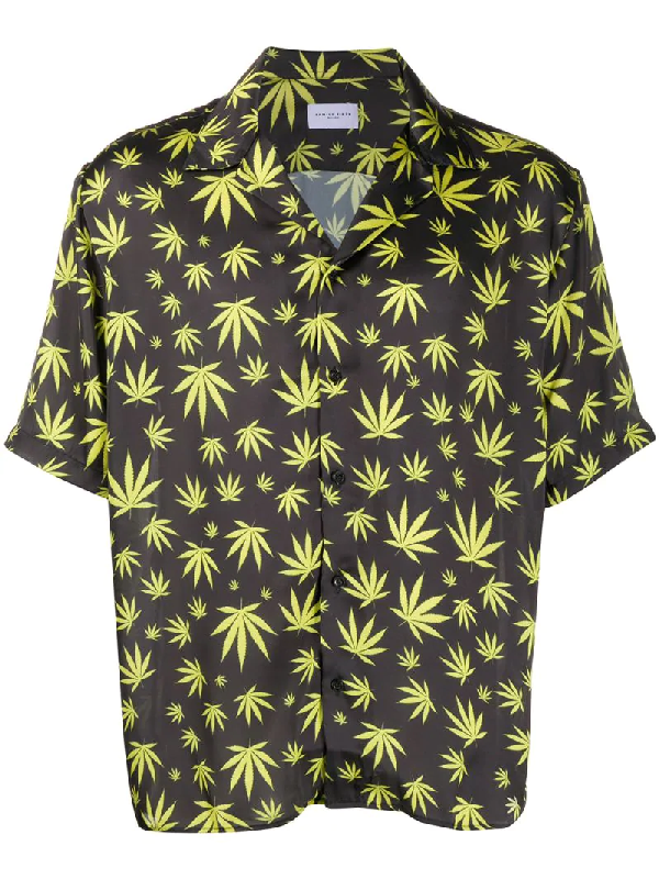 Family First Cannabis-print Short-sleeved Shirt In Black