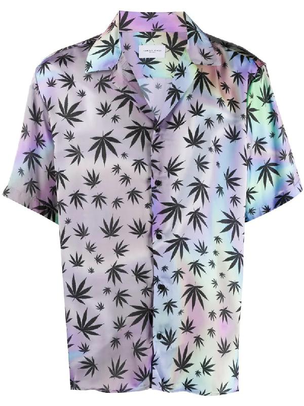 Family First Cannabis Print Shirt In Purple